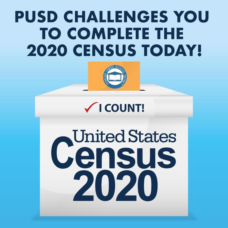PUSD Challenges you to complete the 2020 Census today.