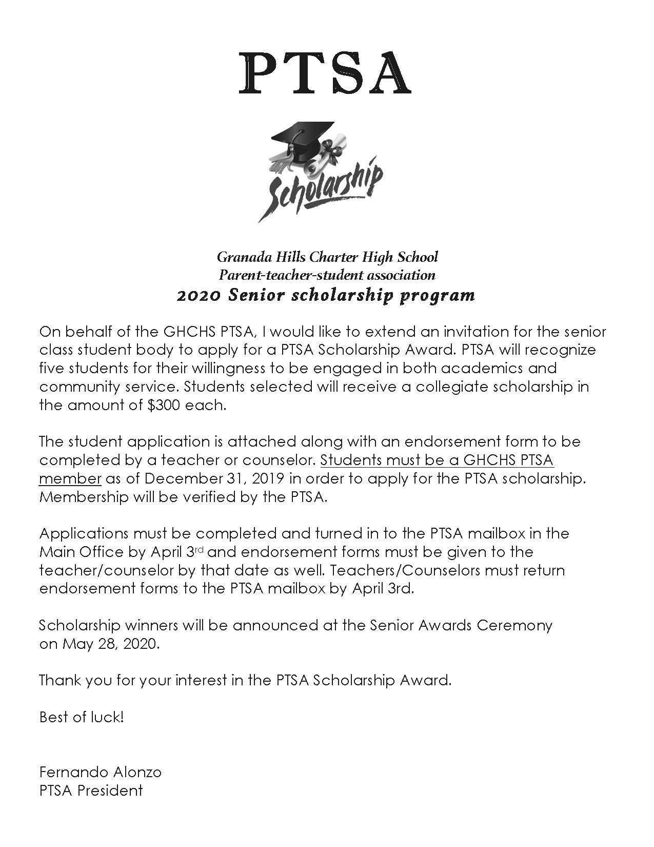 PTSA Senior Scholarship Program