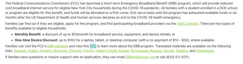 **Emergency Broadband Benefit Program** Featured Photo