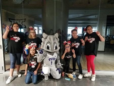 TCU mascot and Students