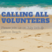 beach with sand and waves. Text reads: Calling all volunteers, Please join us at Lisbon Beach RSVP https://goo.gl/forms/z14u1Ucs2bTYdl7k2
