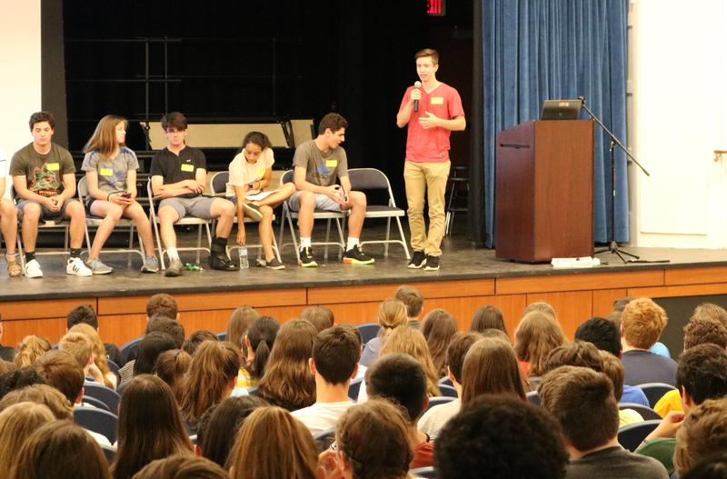 Members of the Westfield High School Dream Team speak about social pressures, grades, and other topics surrounding the transition to high school during an outreach presentation to 8th graders at Roosevelt Intermediate School last May.