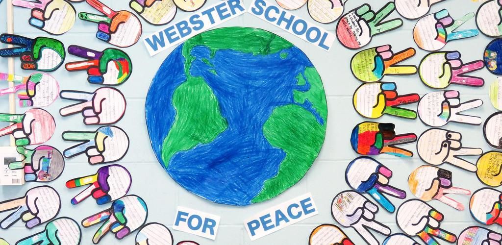 A wall-art collage concept, featuring paper cutouts of peace signs, surrounding the earth