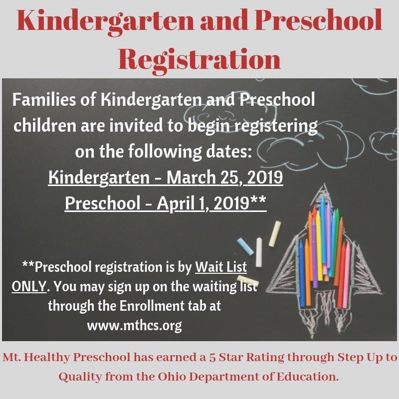 start date for kindergarten and preschool registration