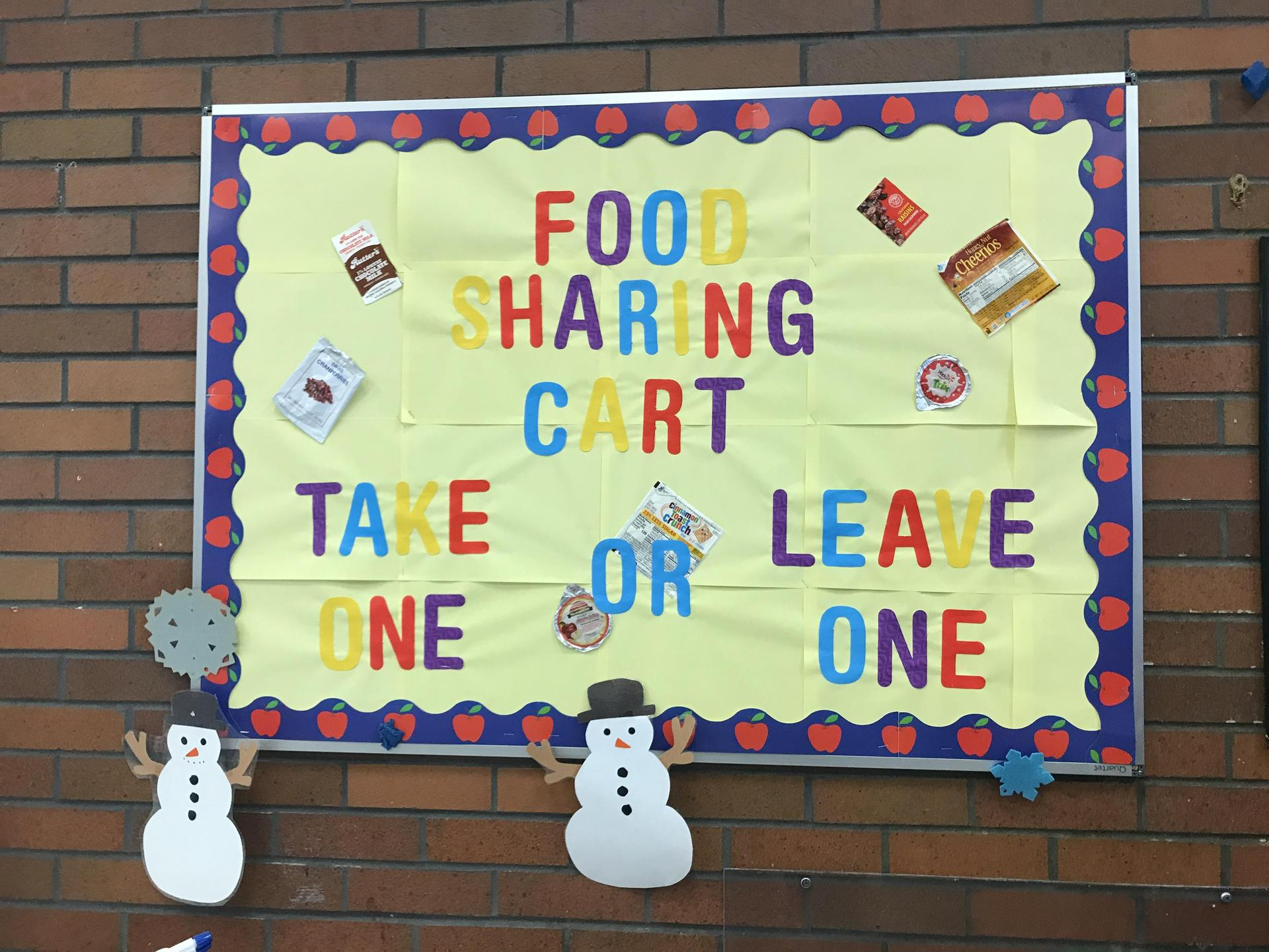Share table sign created by Rush Cafeteria.