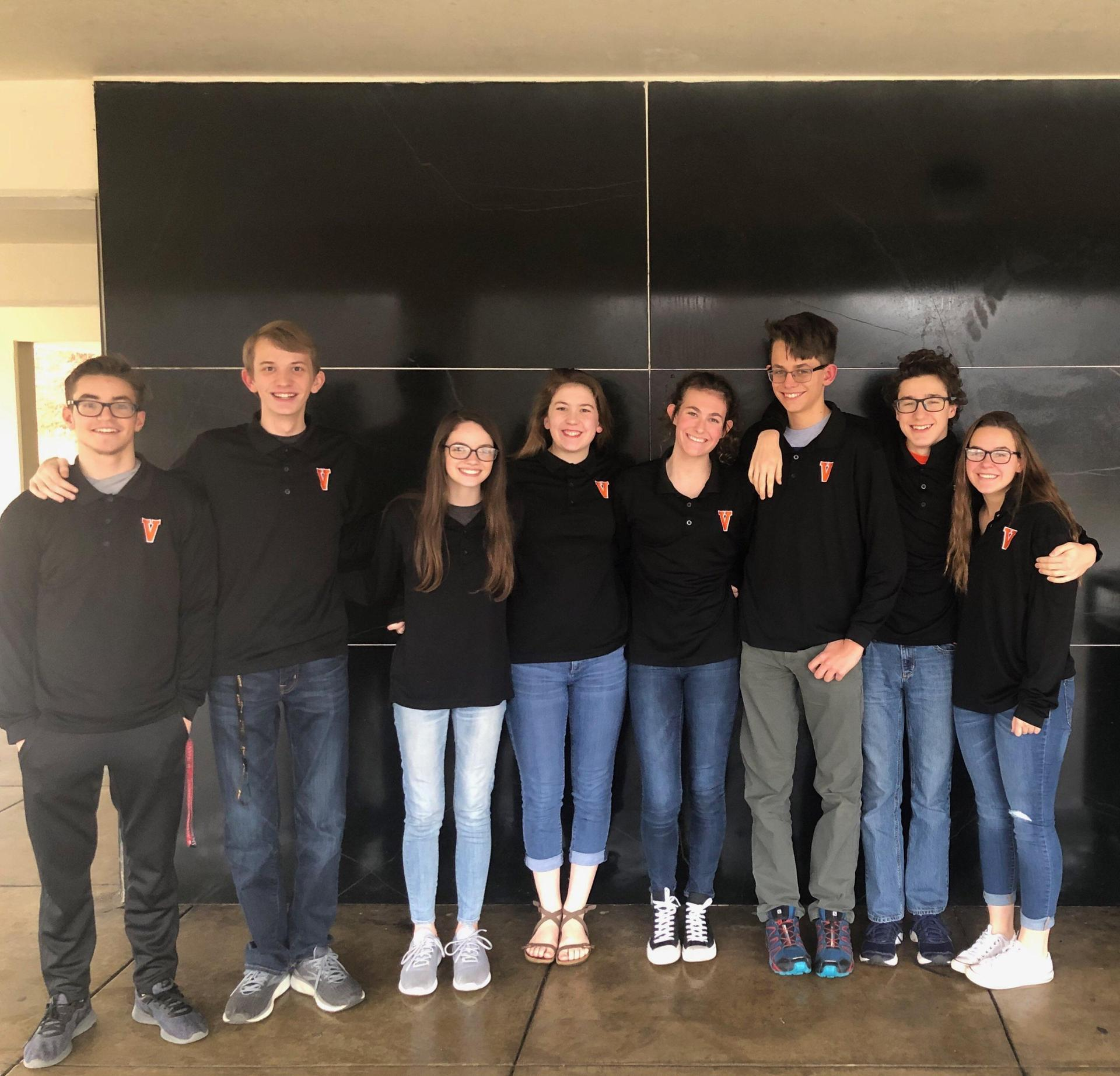 The VHS Scholastic Bowl team took first place at the VHSL District Tournament on January 19th at Southwest Virginia Community College in Cedar Bluff: (l-r) Brayden Wilson, Chandler Bowman, Lucy Heffinger (captain), Ridley Little, Amelia Austin, Bryce Cheers, Aaron Van Nostrand, and Madison Harosky. Lucy also qualified for All-District.  The team will go to Regionals on February 2nd. Go, Bearcats!!!