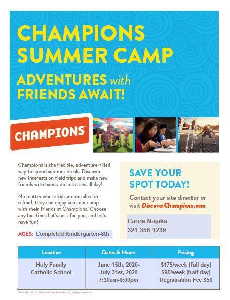 Champions Summer Camp 2020 Featured Photo
