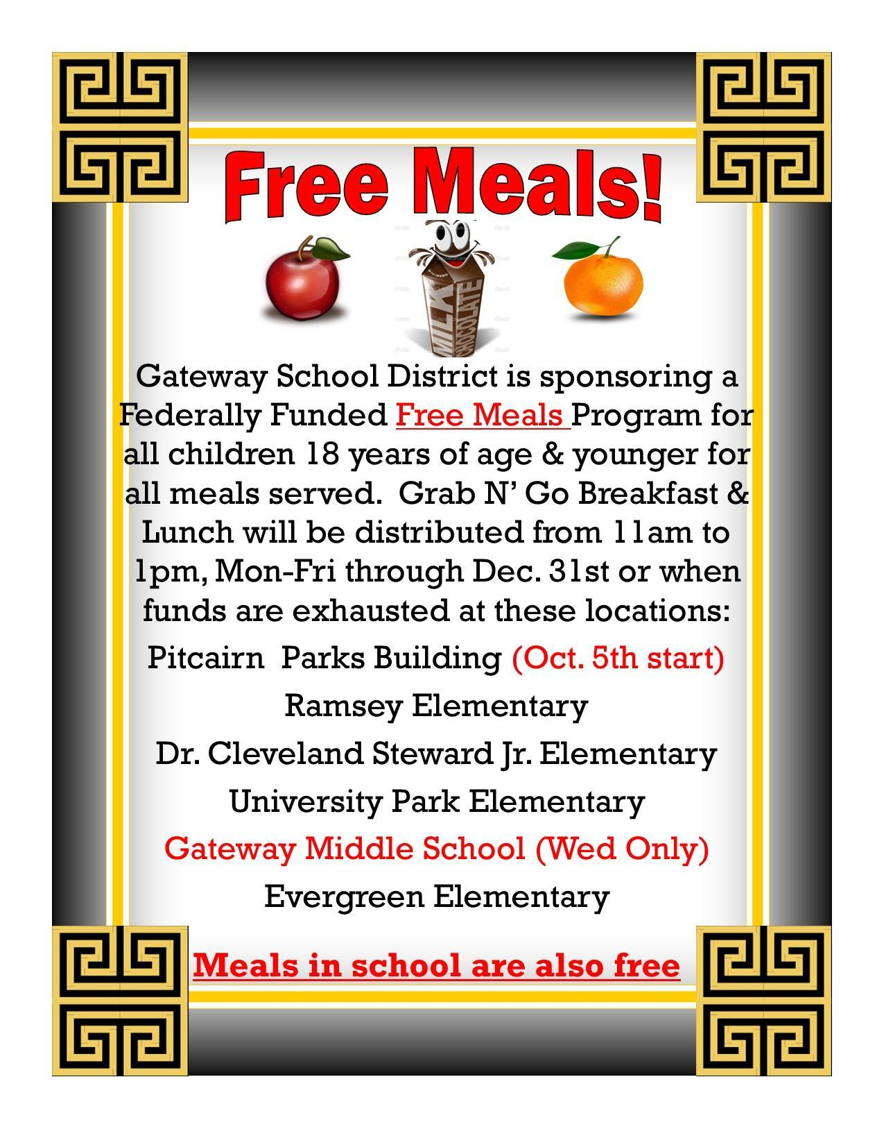 free meals oct 1st