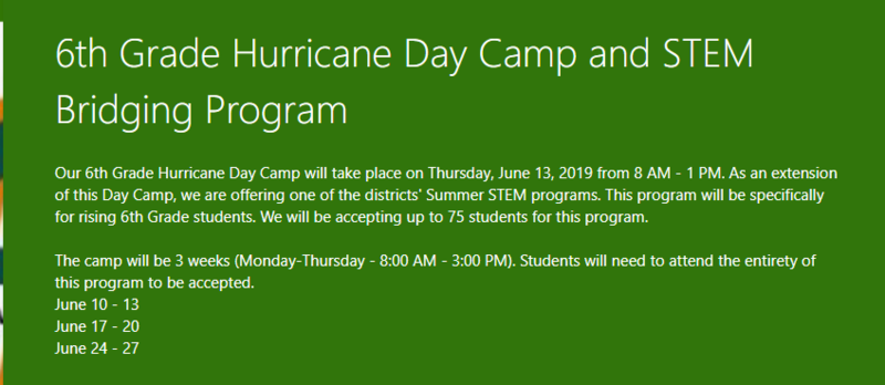6th Grade Hurricane Day Camp and Stem Building Program Featured Photo