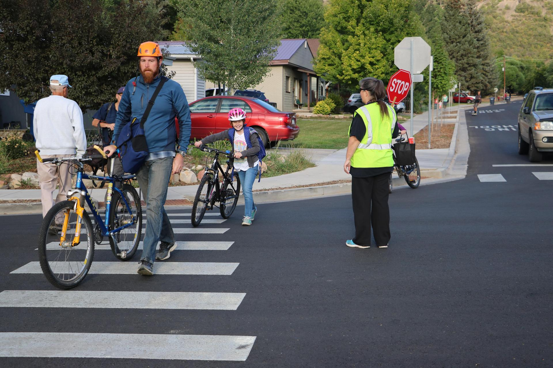 Image of families using a school cross walk