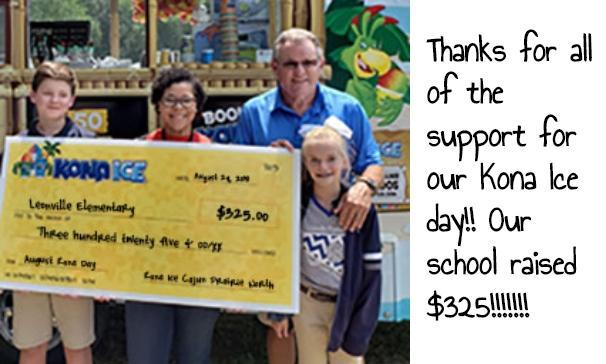 Leonville Elementary Raised $325 from Kona Ice Day!