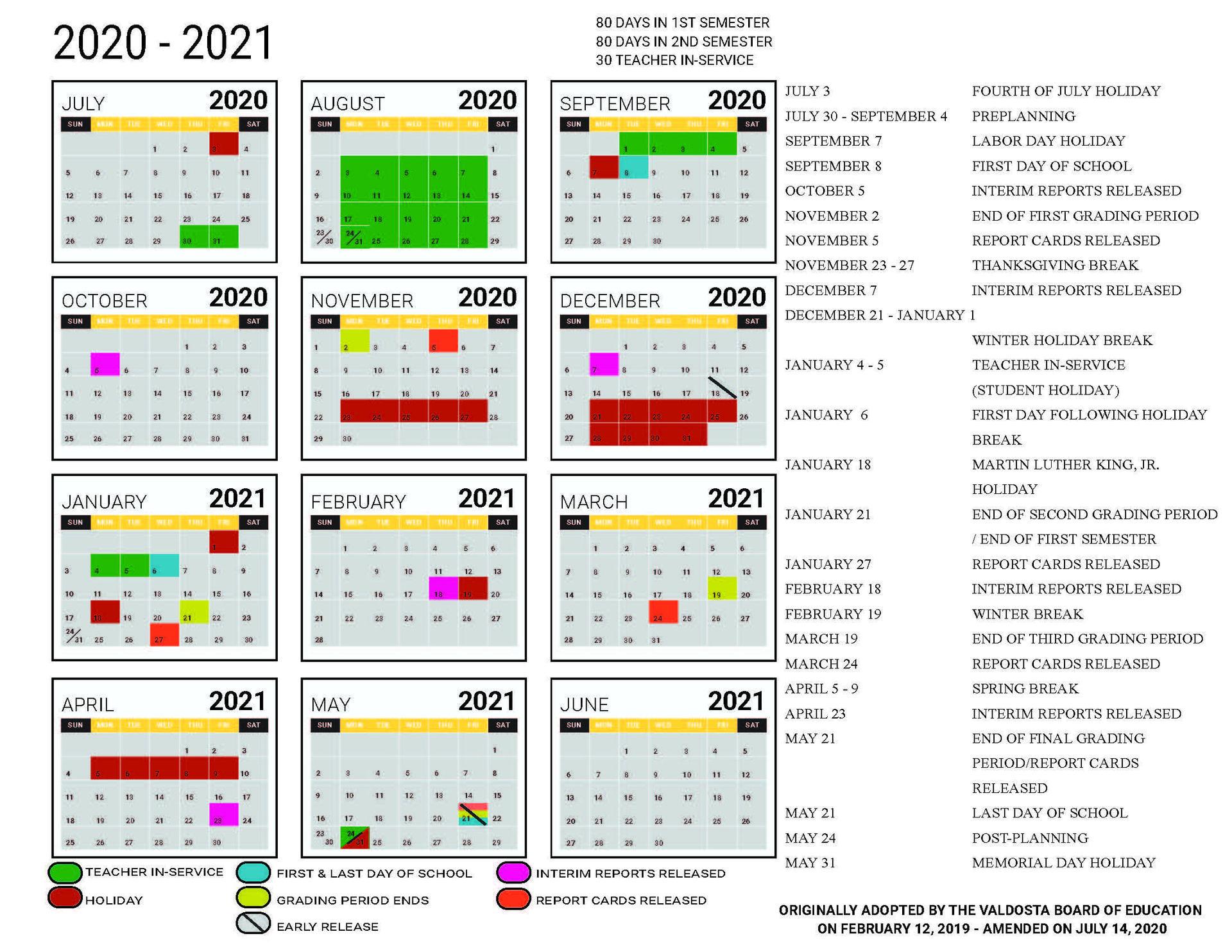 2020-2021 Amended Academic Calendar