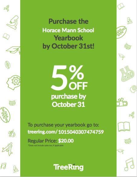 October yearbook flyer 5% off