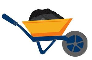 Orange, navy blue and grey wheel barrow carrying gravel.