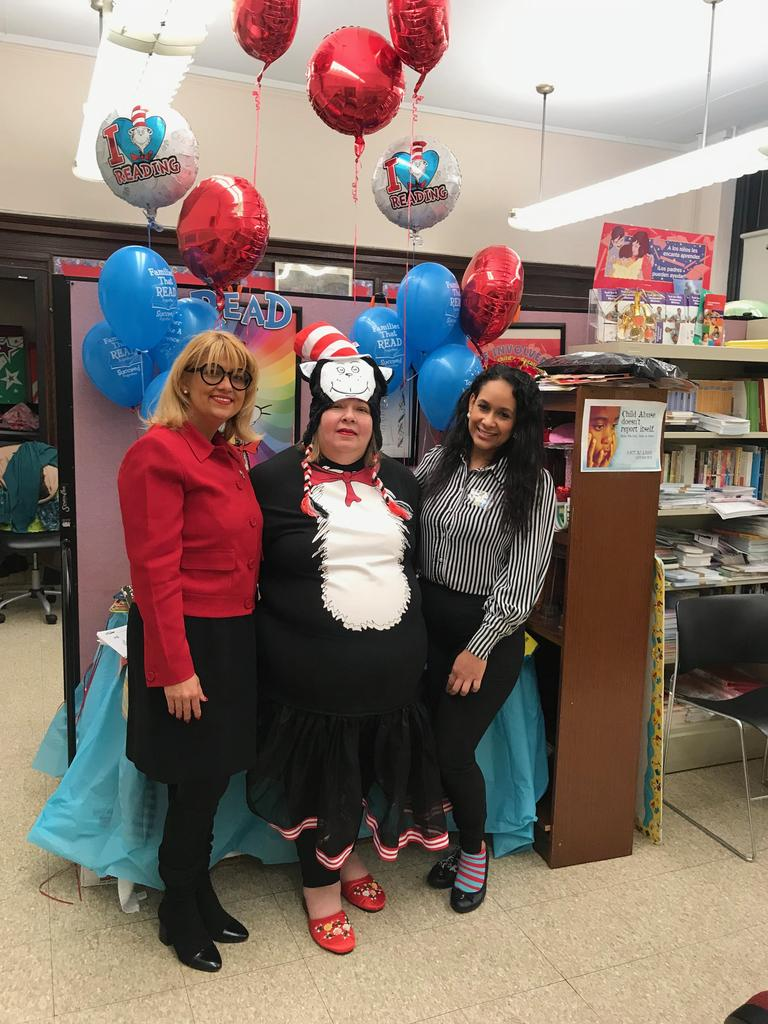 commissioner wendy grullon, parent liaison kanik, and teacher