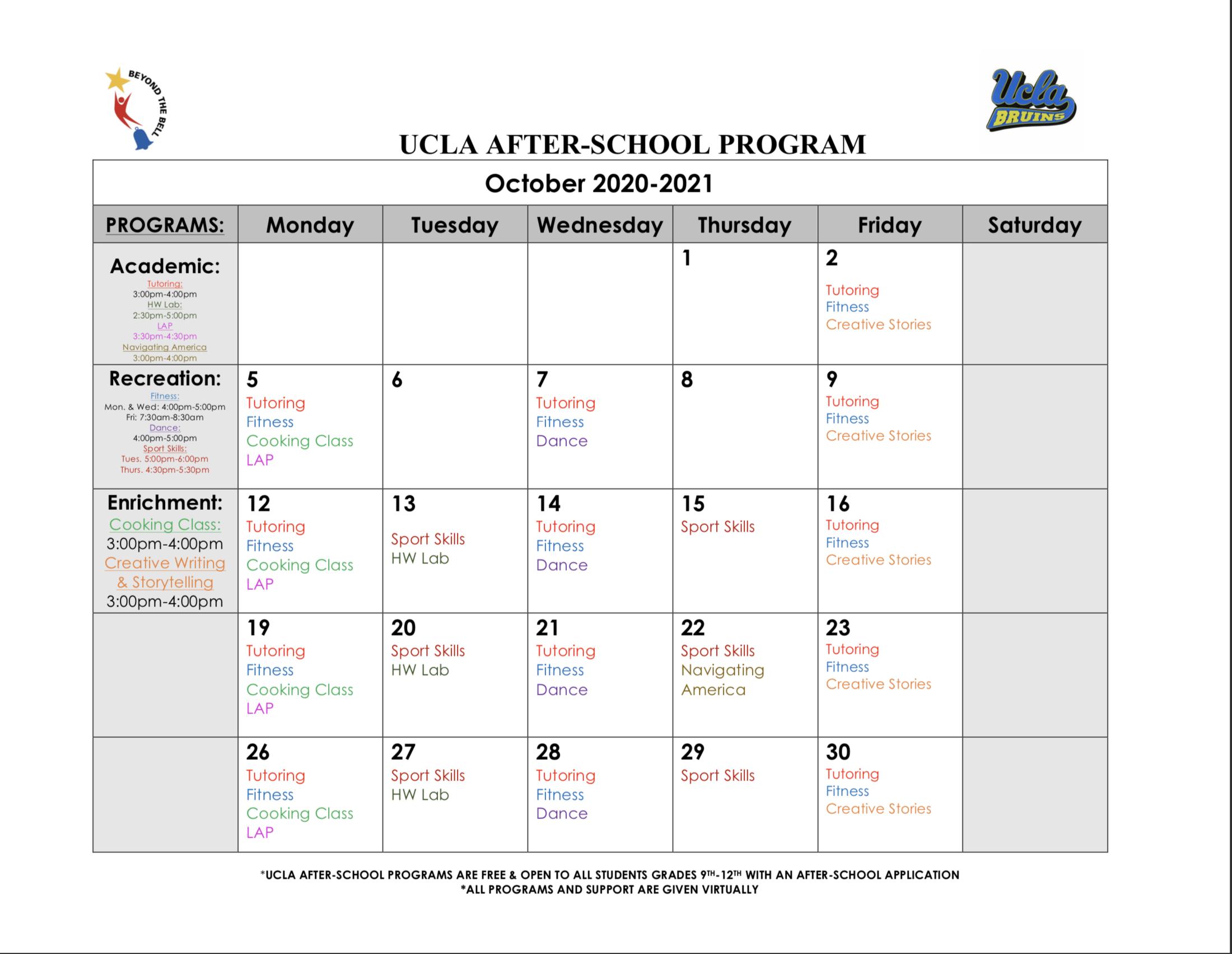 Monthly Calendar – UCLA After School Program – Alliance Tennenbaum