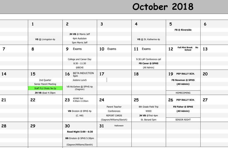 SPHS Calendar Thumbnail Image