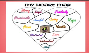 My heart map with pink border
