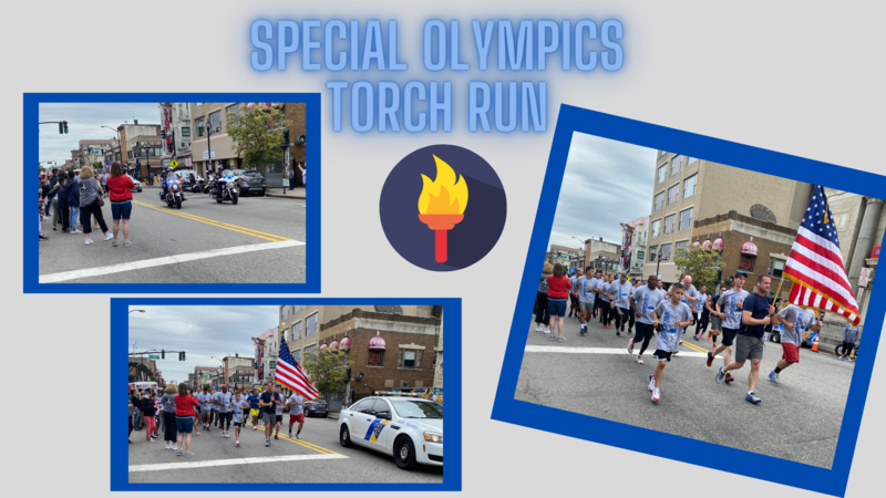 Torch Run in the streets collage