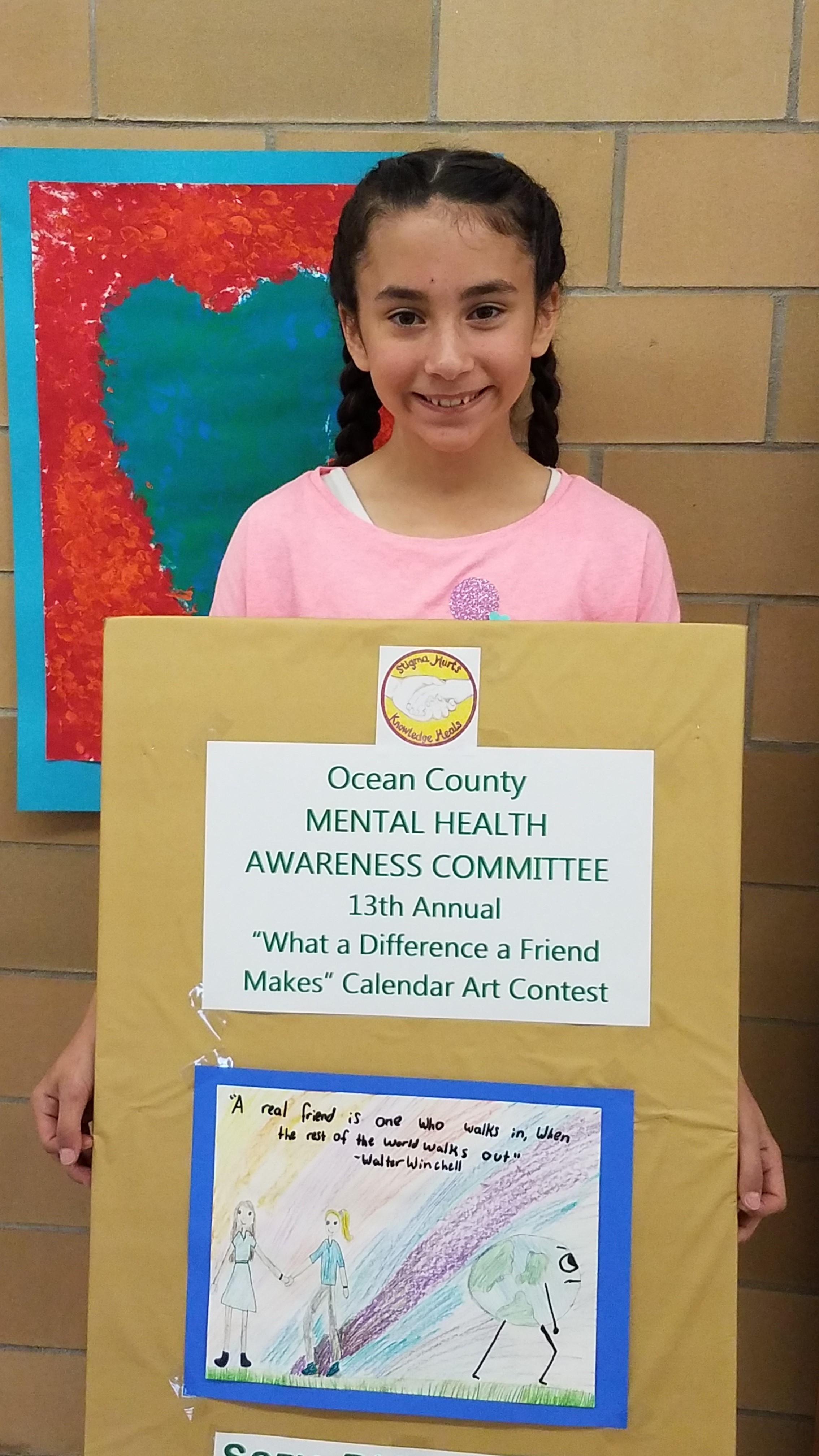 Congratulations to Sofia D. one of our 5th graders whose artwork was chosen in the What a Difference a Friend Makes contest. Sponsored by the Ocean County Mental Health Awareness Committee