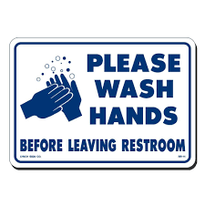 a graphic that says 'Please Wash Hands before leaving restroom'