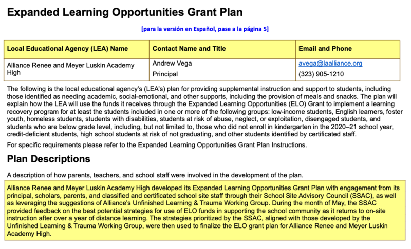 Luskin Academy - Expanded Learning Opportunities Grant Plan Thumbnail Image