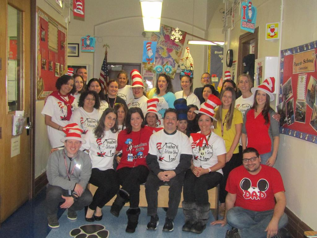 Jefferson teachers, staff and admin dressed in seuss t's