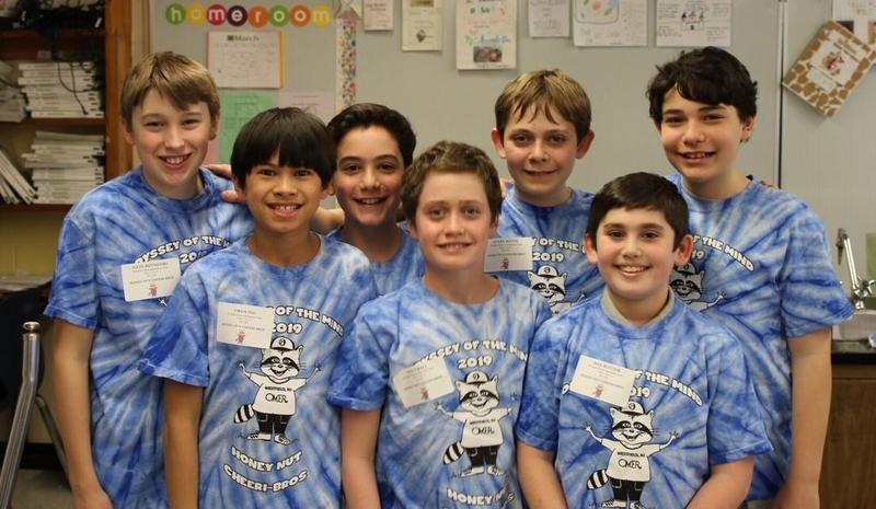 This team of Edison Intermediate School students joins two other Westfield teams in advancing to Odyssey of the Mind state finals after placing 1st in a regional competition on March 10.  L-R:  Nathan Reynders, Owen Ing, Benjamin Ackerman, Ted Crall, Avery Keith, Max Rotter, and Lucas Gunzberg