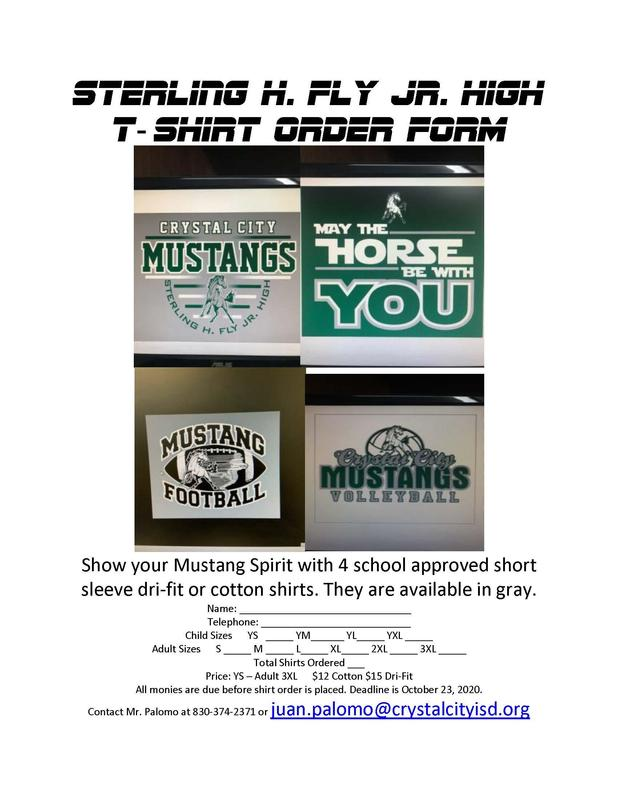 Show your Mustang spirit!!! Order a shirt today. Deadline is Nov 2, 2020. Featured Photo