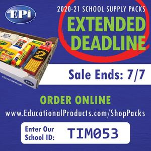 School Supply Orders Extended