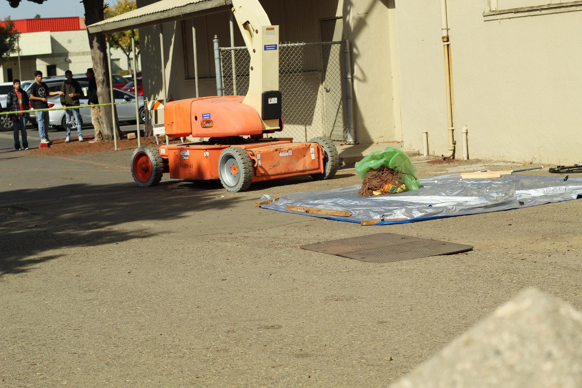 Team two pumpkin hitting the ground
