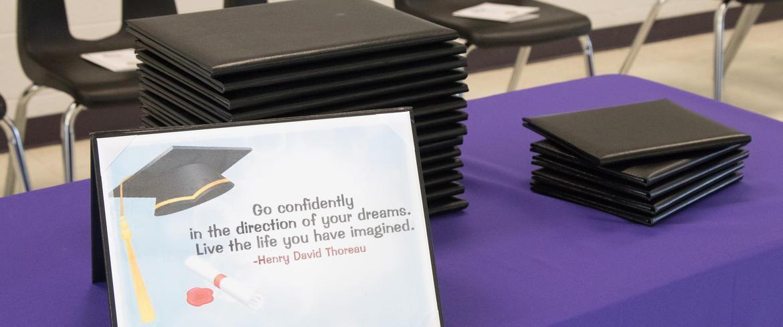 diplomas on table