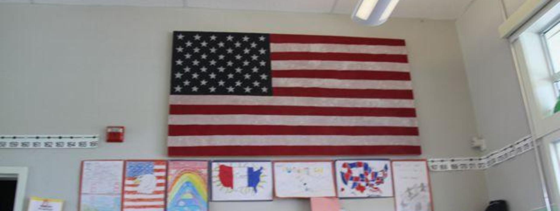 Student flag and classwork - West Side School