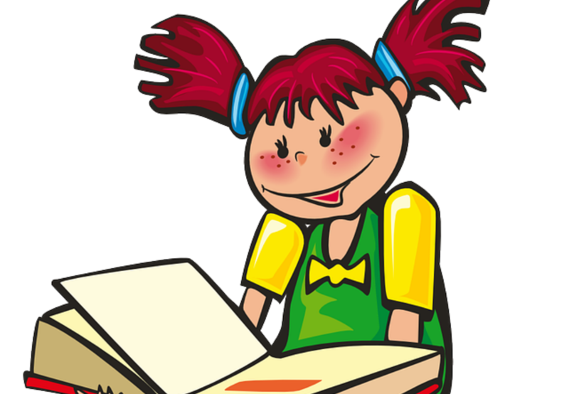 Animated image of girl looking at a book