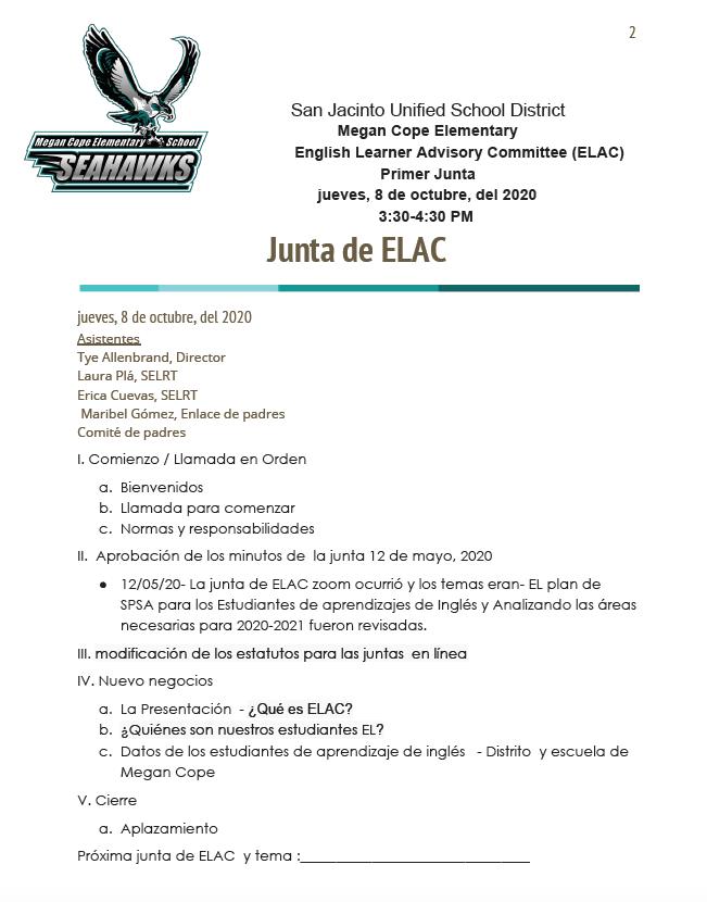 10/8/20 Agenda in Spanish