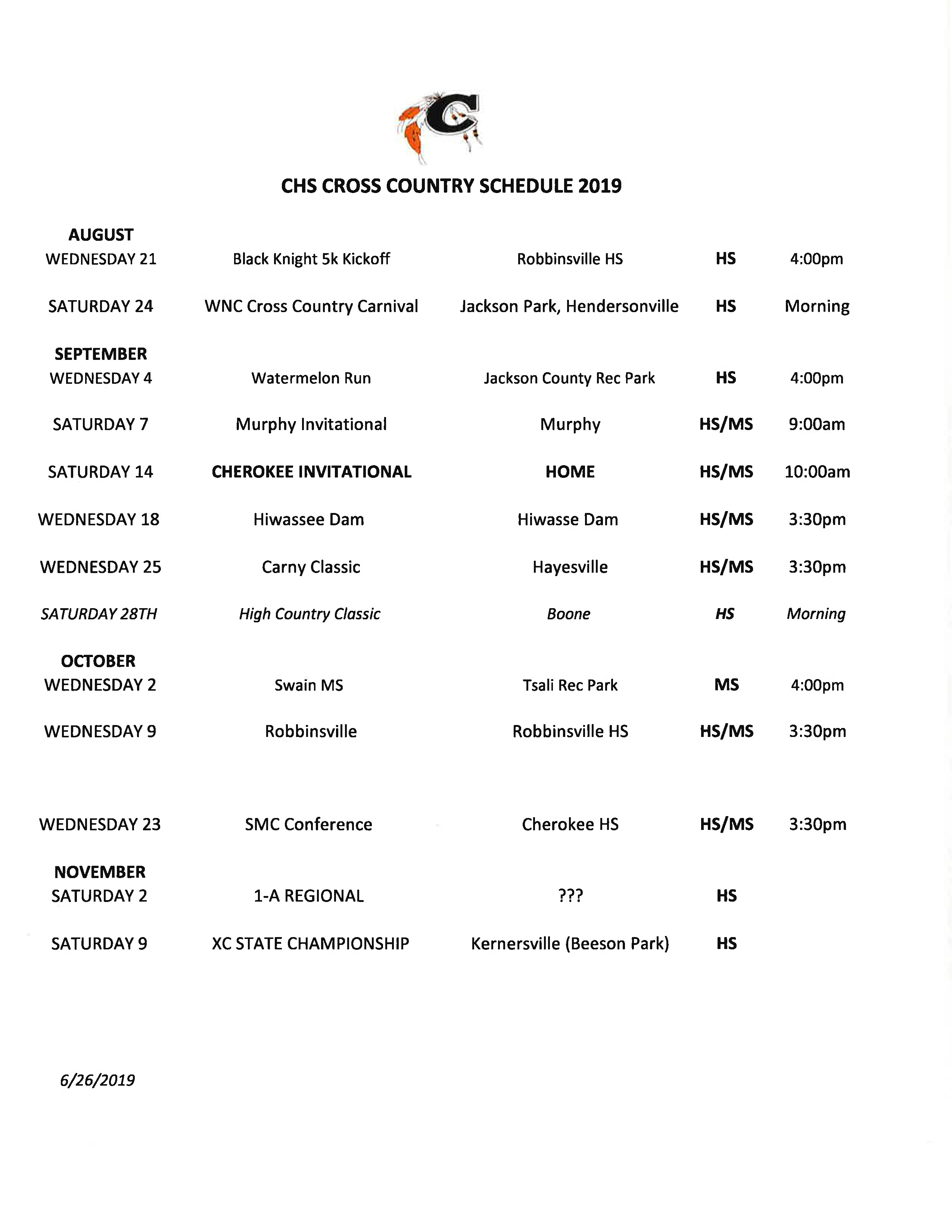 2019-2020 CHS Cross Country Schedule