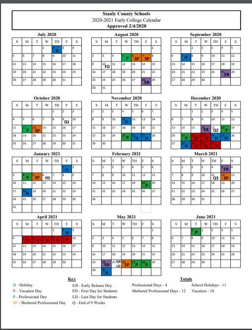 20-21 Early Colleges Calendar