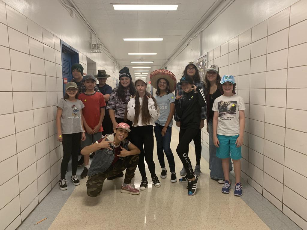 Students participating in Hat Day for St. Jude's Children's hospital