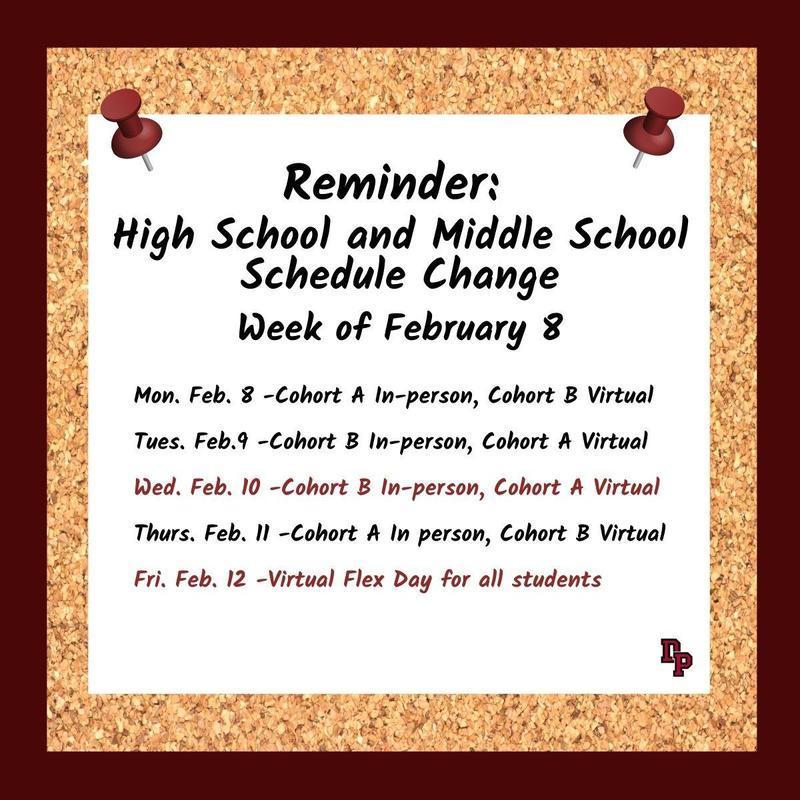 week of Feb 8 schedule change