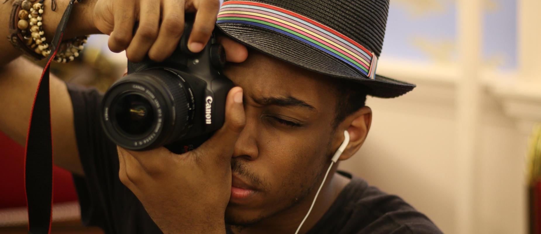 Student photographer B. Nixon hard at work.