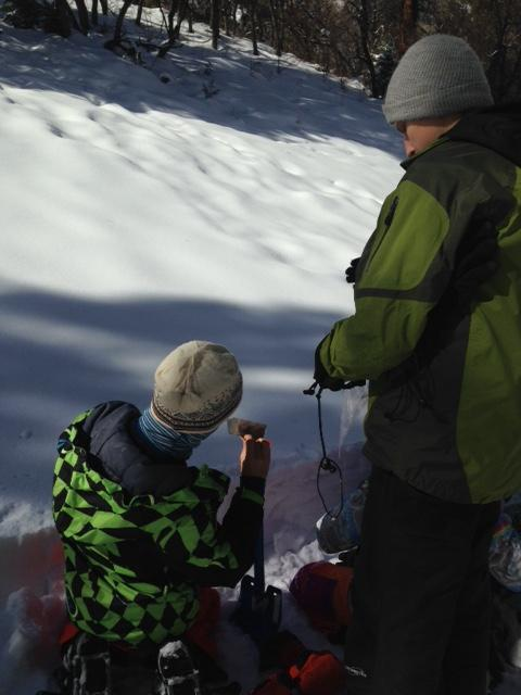 Middle school snow science at Haviland Lake