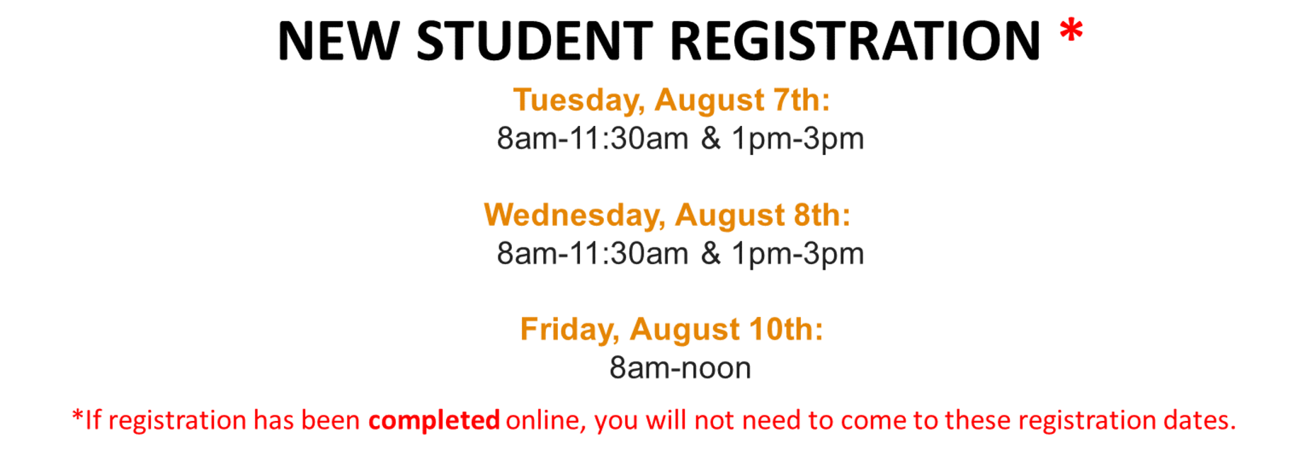 New Student Registration Dates