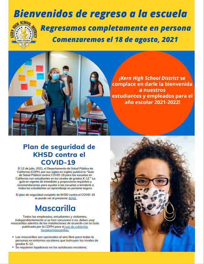 KHSD COVID Infographic in Spanish