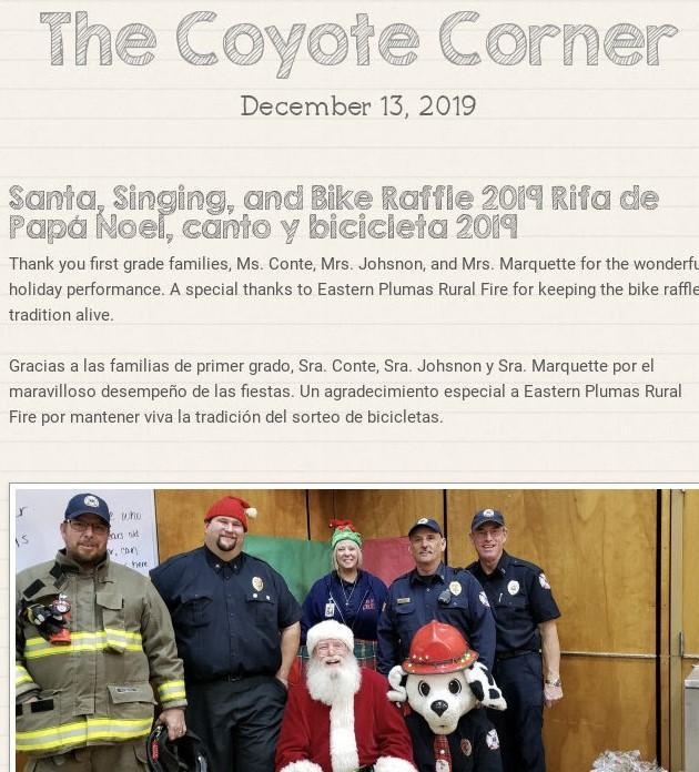 Screen shot of our 12-13 newsletter