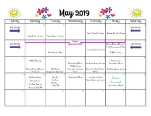 Calendar of events at SCES for May