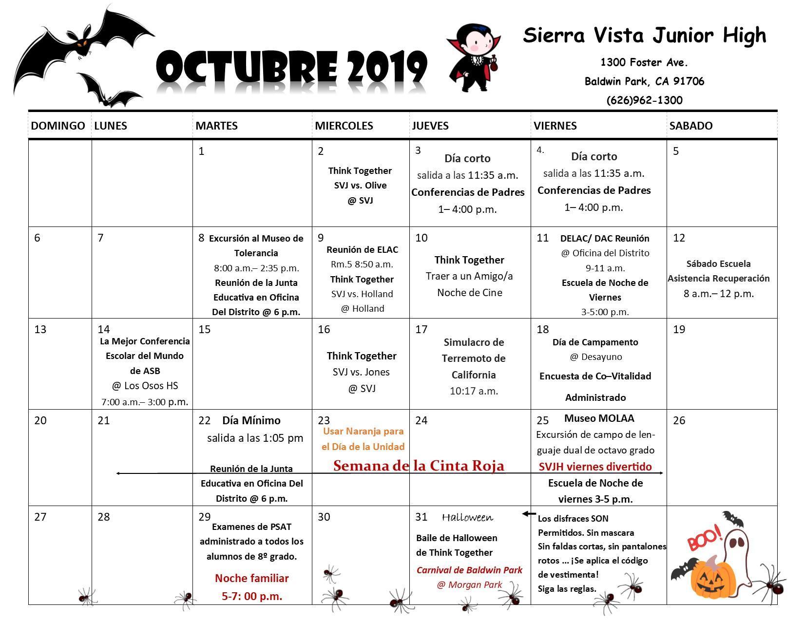 October Calendar Spanish 2019