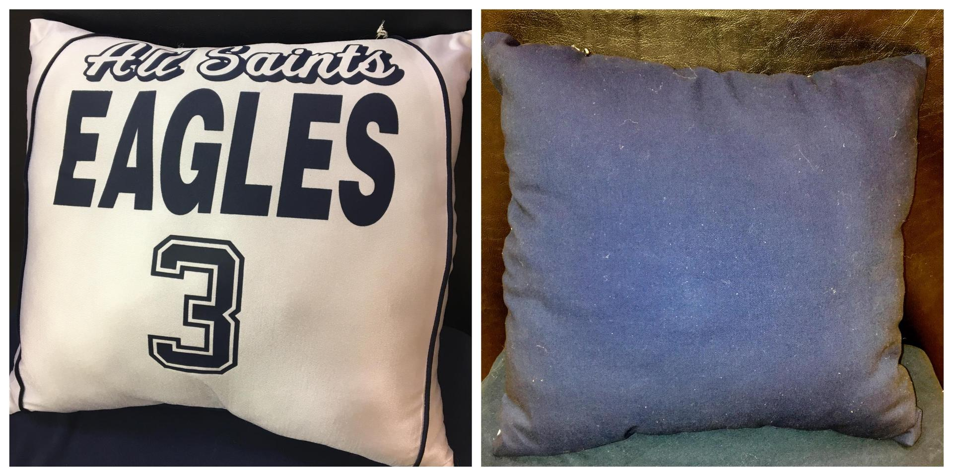 Large White Jersey Navy Back Pillow