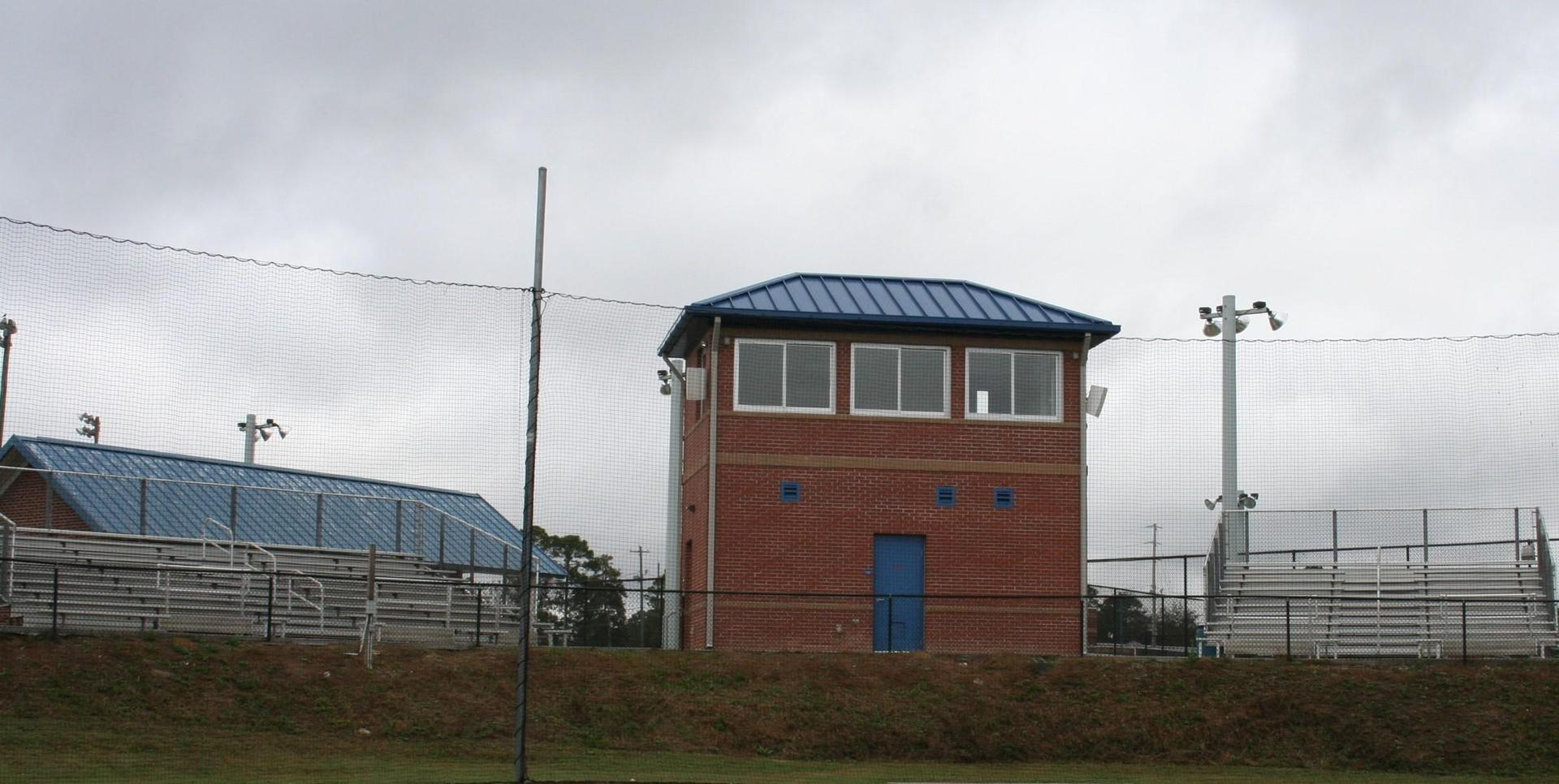 NEW BASEBALL PRESS BOX PICTURED FROM THE OUTFIELD