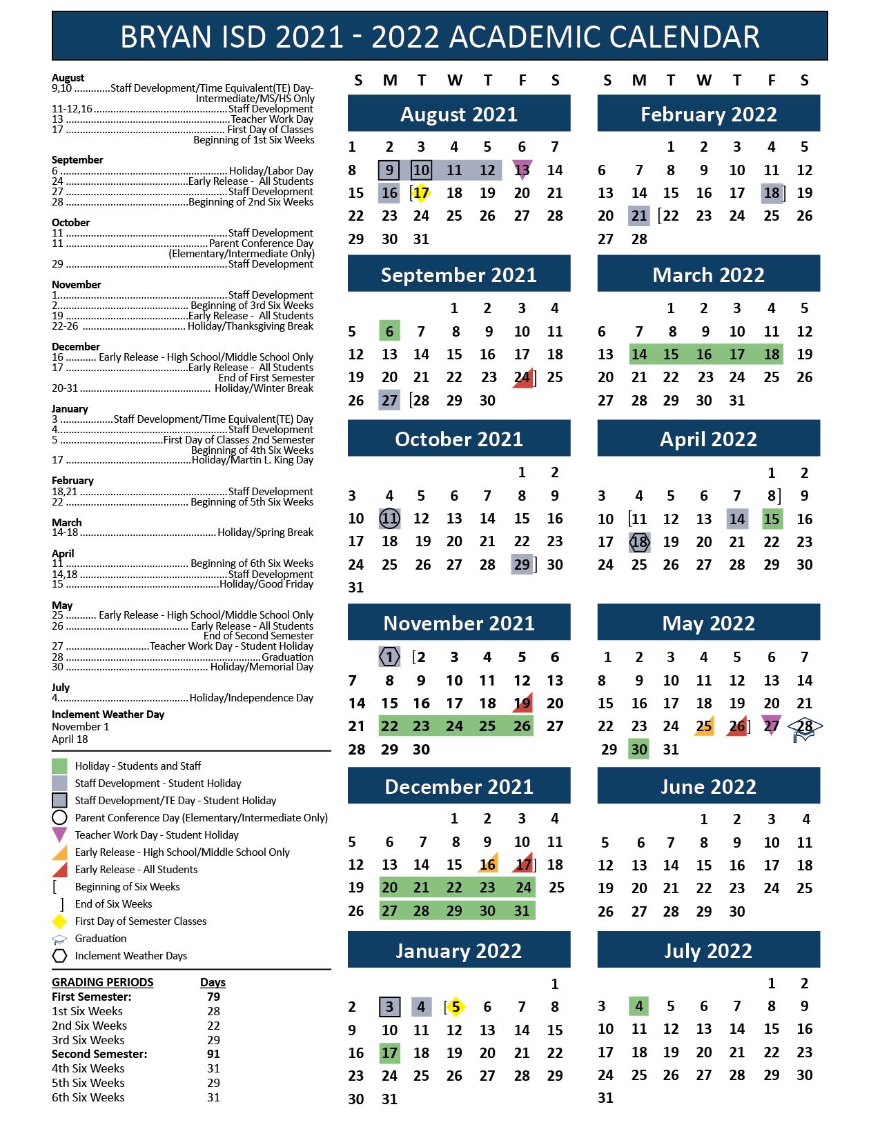 Tamu Academic Calendar 2022 2023.Bryan Independent School District