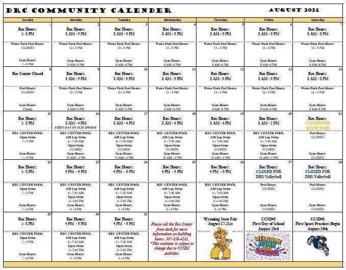 August Community Calendar 2021